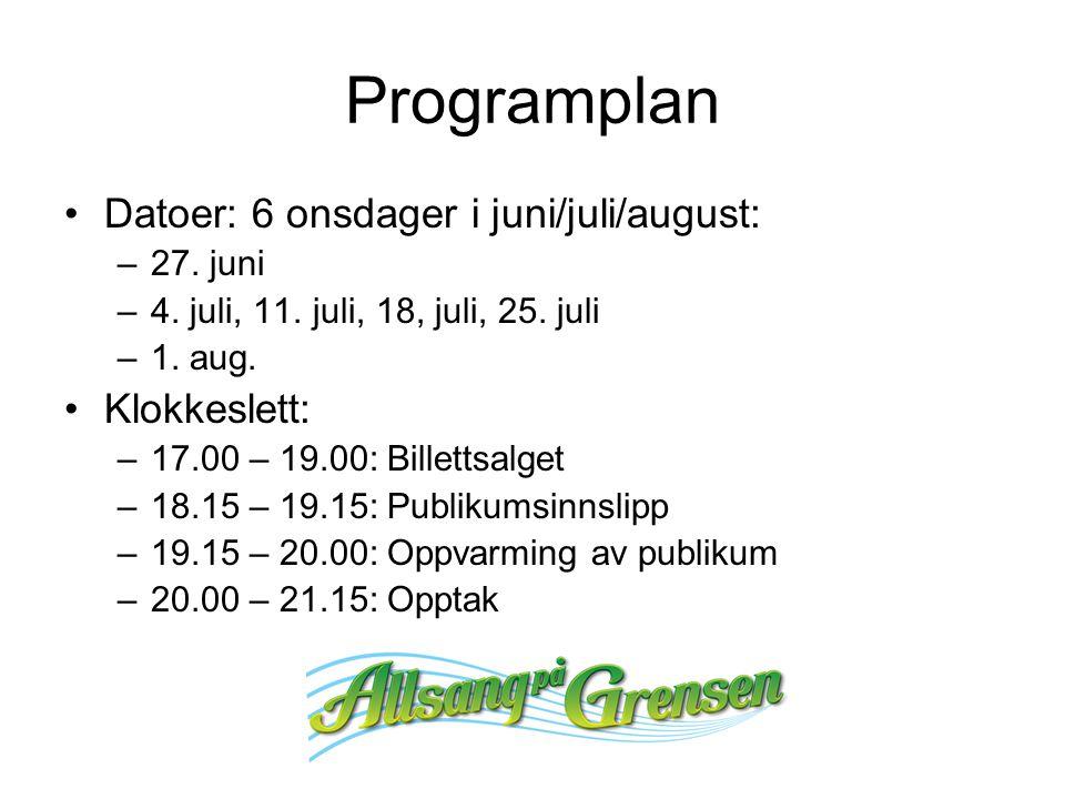 Programplan Datoer: 6 onsdager i juni/juli/august: –27. juni –4. juli, 11. juli, 18, juli, 25. juli –1. aug. Klokkeslett: –17.00 – 19.00: Billettsalge