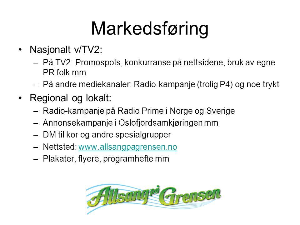 Markedsføring Nasjonalt v/TV2: –På TV2: Promospots, konkurranse på nettsidene, bruk av egne PR folk mm –På andre mediekanaler: Radio-kampanje (trolig P4) og noe trykt Regional og lokalt: –Radio-kampanje på Radio Prime i Norge og Sverige –Annonsekampanje i Oslofjordsamkjøringen mm –DM til kor og andre spesialgrupper –Nettsted: www.allsangpagrensen.nowww.allsangpagrensen.no –Plakater, flyere, programhefte mm