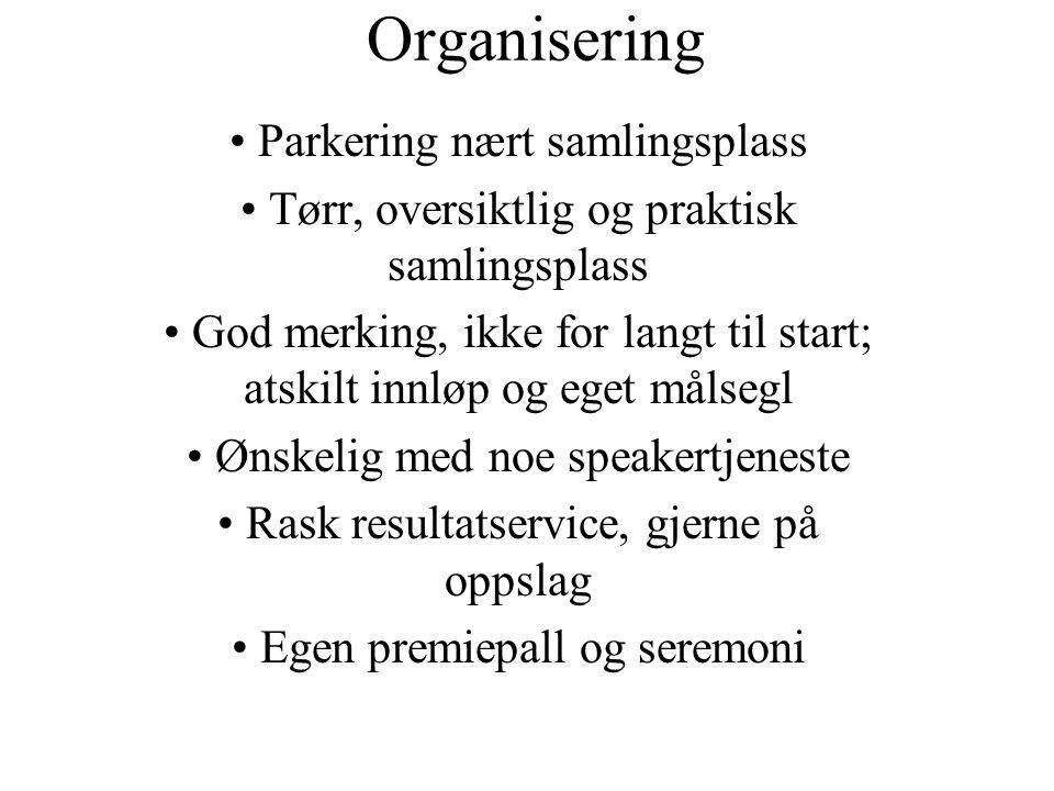 Organisering Parkering nært samlingsplass Tørr, oversiktlig og praktisk samlingsplass God merking, ikke for langt til start; atskilt innløp og eget må