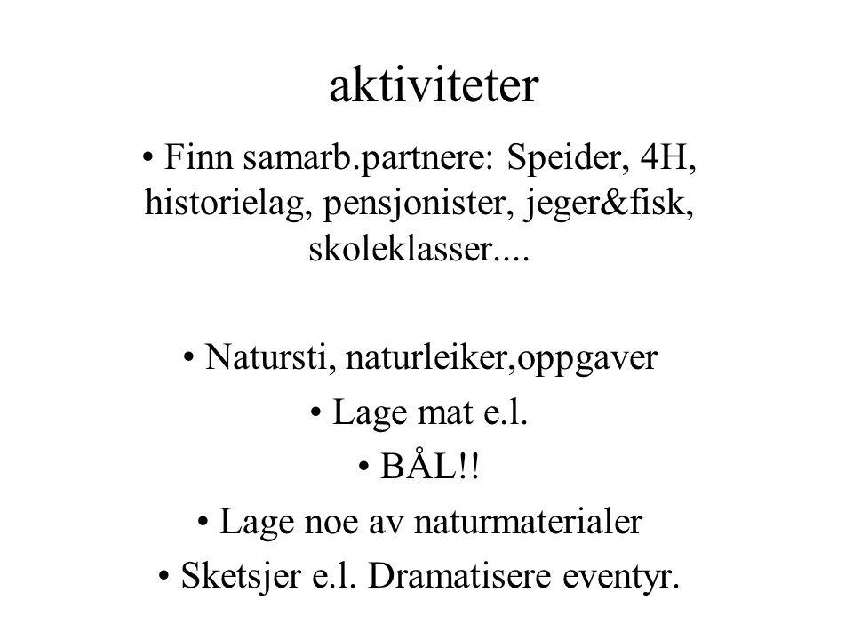 aktiviteter Finn samarb.partnere: Speider, 4H, historielag, pensjonister, jeger&fisk, skoleklasser....