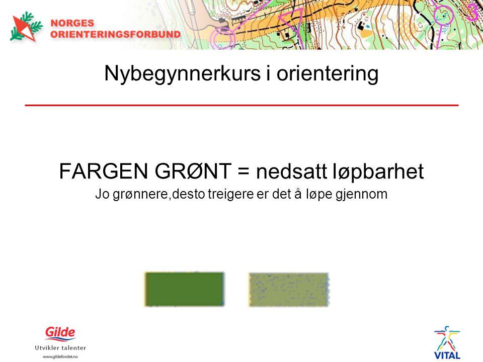 FARGEN GRØNT = nedsatt løpbarhet Jo grønnere,desto treigere er det å løpe gjennom Nybegynnerkurs i orientering