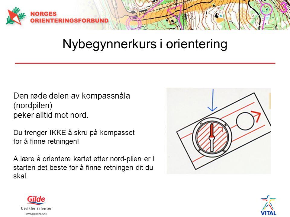 Den røde delen av kompassnåla (nordpilen) peker alltid mot nord. Du trenger IKKE å skru på kompasset for å finne retningen! Å lære å orientere kartet
