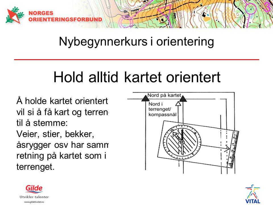 Hold alltid kartet orientert Å holde kartet orientert vil si å få kart og terreng til å stemme: Veier, stier, bekker, åsrygger osv har samme retning p