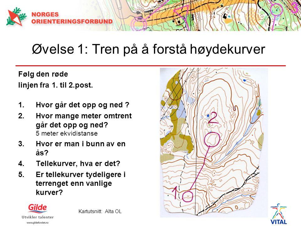 Øvelse 1: Tren på å forstå høydekurver Følg den røde linjen fra 1. til 2.post. 1.Hvor går det opp og ned ? 2.Hvor mange meter omtrent går det opp og n