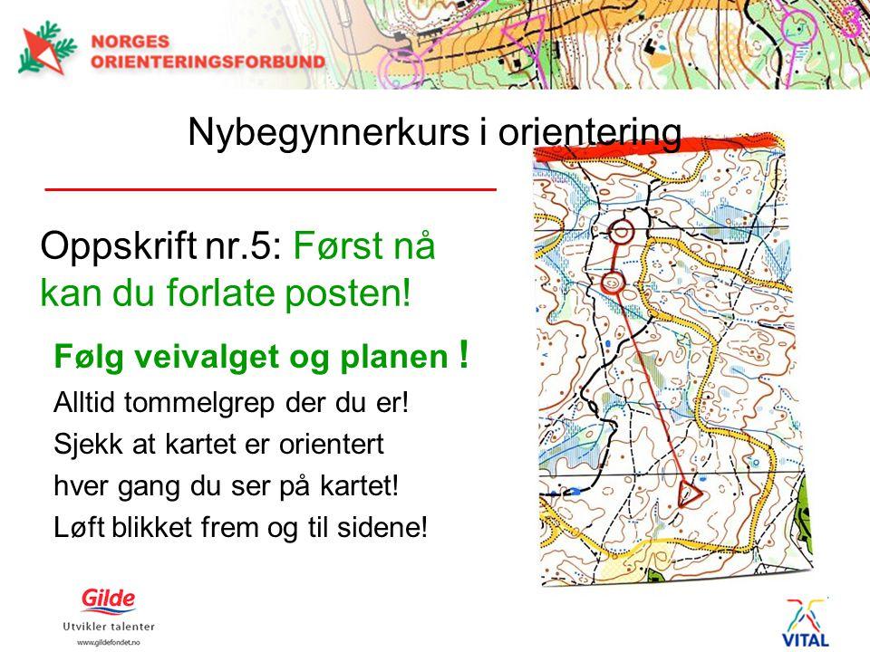 Oppskrift nr.5: Først nå kan du forlate posten! Følg veivalget og planen ! Alltid tommelgrep der du er! Sjekk at kartet er orientert hver gang du ser