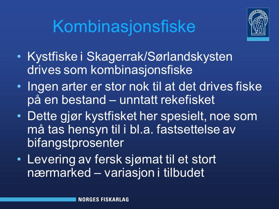 Kombinasjonsfiske Kystfiske i Skagerrak/Sørlandskysten drives som kombinasjonsfiske Ingen arter er stor nok til at det drives fiske på en bestand – un