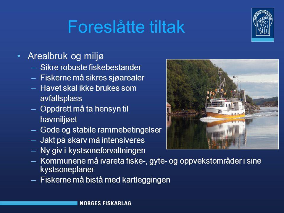 Foreslåtte tiltak Arealbruk og miljø –Sikre robuste fiskebestander –Fiskerne må sikres sjøarealer –Havet skal ikke brukes som avfallsplass –Oppdrett m