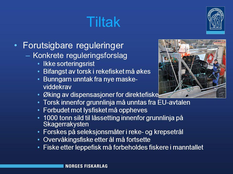 Tiltak Forutsigbare reguleringer –Konkrete reguleringsforslag Ikke sorteringsrist Bifangst av torsk i rekefisket må økes Bunngarn unntak fra nye maske