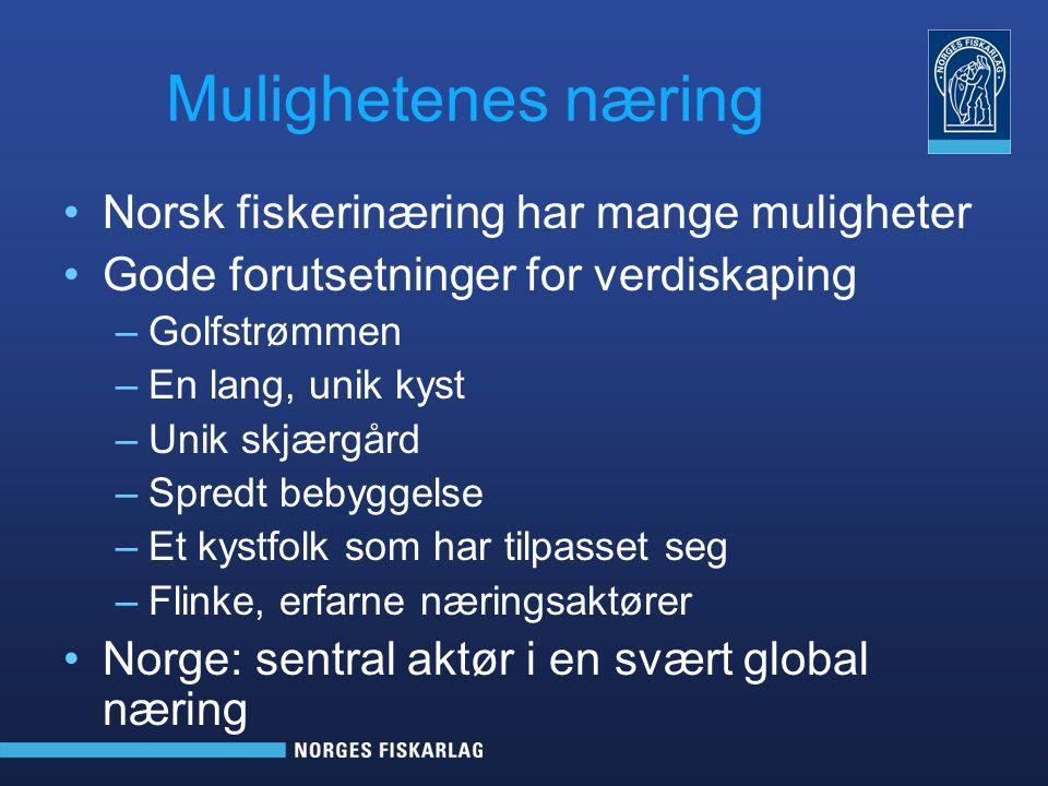 Viktig Norge – en stor fiskerinasjon Forvalter et havområde 6 –7 ganger større enn fastlandsnorge Sentral aktør i det internasjonale markedet –Eksporterer til om lag 160 land –Over 2000 forskjellig produkter Høster i et rent og kaldt hav Har dyktige fiskere Har en differensiert flåte Godt forvaltningssystem