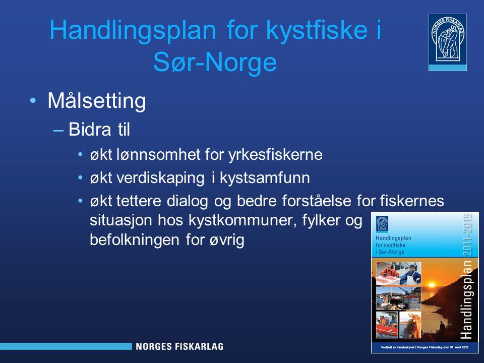 Handlingsplan for kystfiske i Sør-Norge Målsetting –Bidra til økt lønnsomhet for yrkesfiskerne økt verdiskaping i kystsamfunn økt tettere dialog og be
