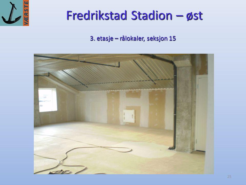 25 Fredrikstad Stadion – øst 3. etasje – rålokaler, seksjon 15
