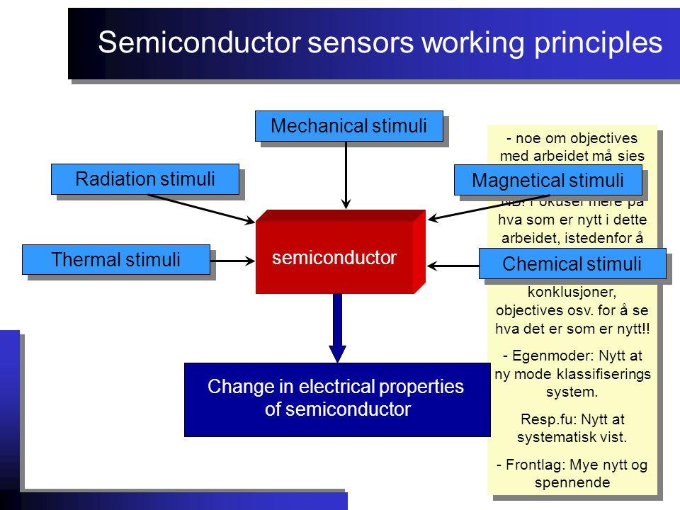 Semiconductor sensors working principles - noe om objectives med arbeidet må sies tidlig.