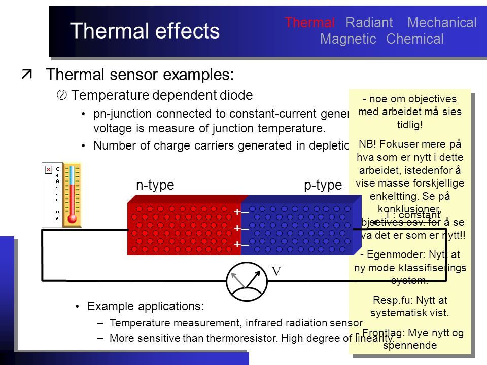 Thermal effects äThermal sensor examples:  Temperature dependent diode pn-junction connected to constant-current generator  resulting voltage is measure of junction temperature.