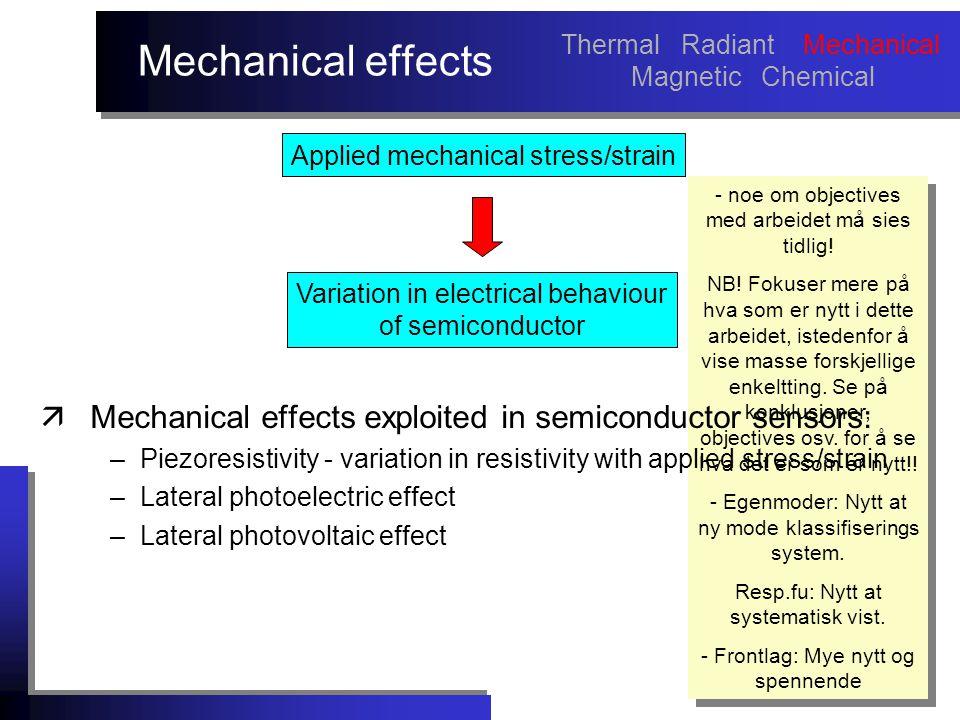 Mechanical effects - noe om objectives med arbeidet må sies tidlig.