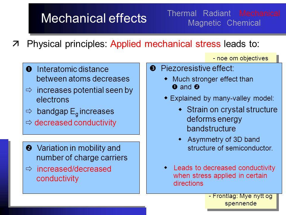 Mechanical effects - noe om objectives med arbeidet må sies tidlig! NB! Fokuser mere på hva som er nytt i dette arbeidet, istedenfor å vise masse fors