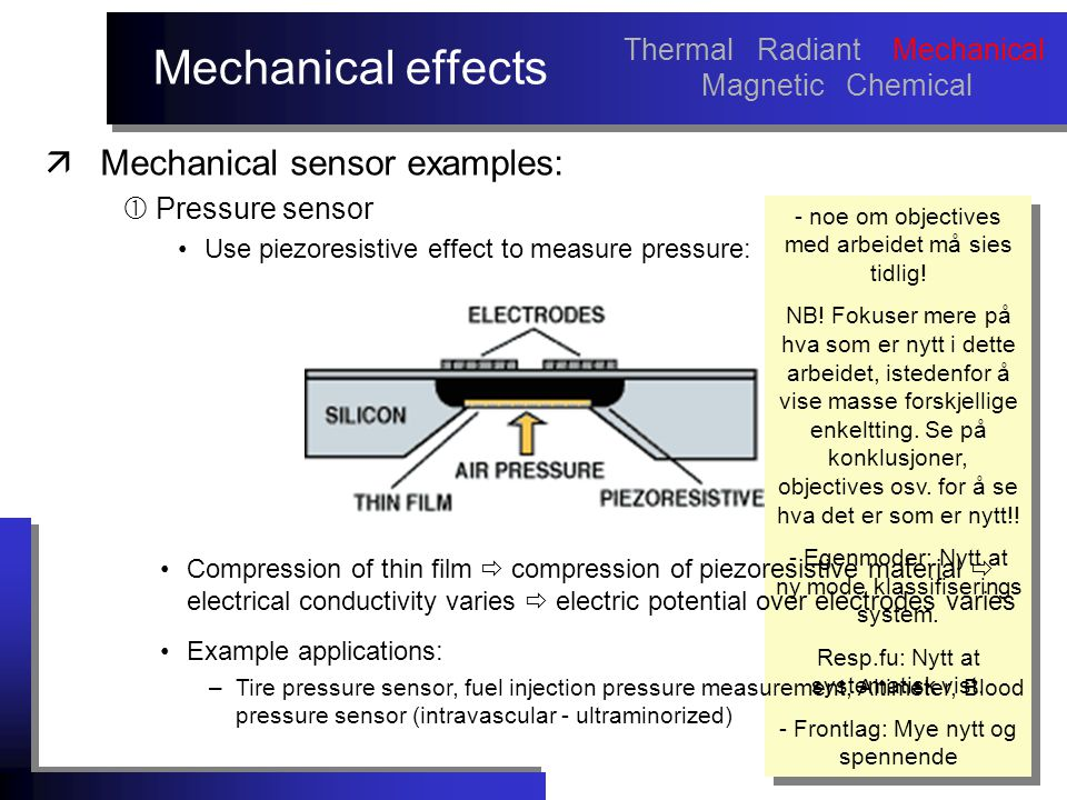 Mechanical effects äMechanical sensor examples:  Pressure sensor Use piezoresistive effect to measure pressure: - noe om objectives med arbeidet må sies tidlig.
