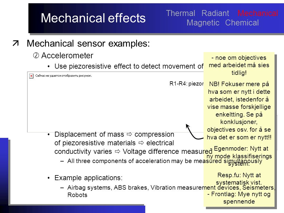 R1-R4: piezoresistive materials Mechanical effects äMechanical sensor examples:  Accelerometer Use piezoresistive effect to detect movement of a mass.