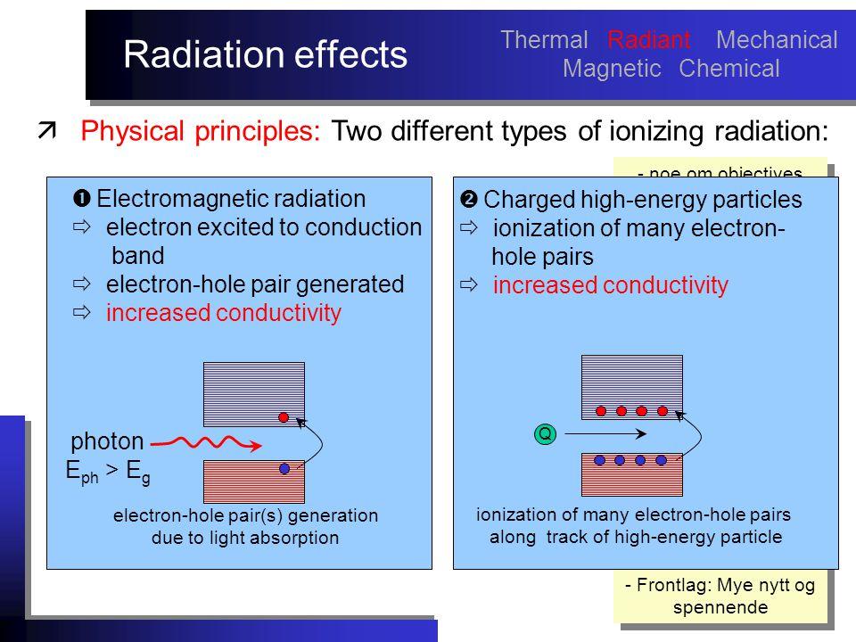 Radiation effects - noe om objectives med arbeidet må sies tidlig.