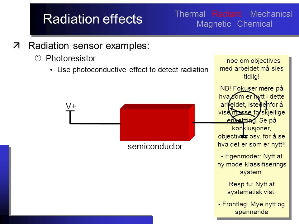 Radiation effects äRadiation sensor examples:  Photoresistor Use photoconductive effect to detect radiation - noe om objectives med arbeidet må sies tidlig.