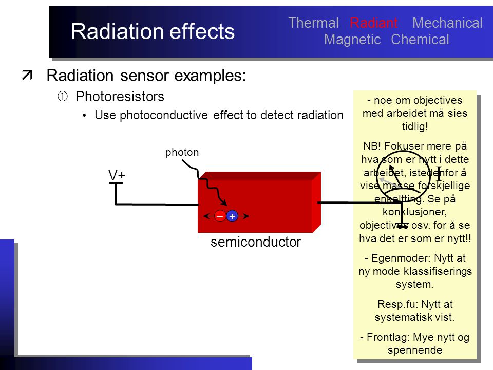 Radiation effects äRadiation sensor examples:  Photoresistors Use photoconductive effect to detect radiation - noe om objectives med arbeidet må sies tidlig.