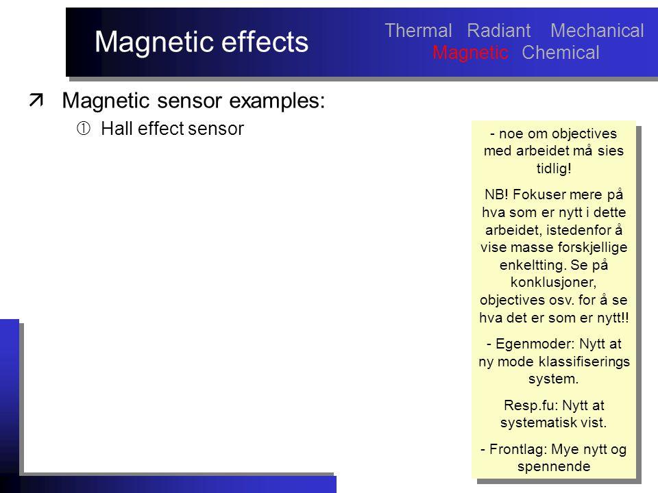 Magnetic effects äMagnetic sensor examples:  Hall effect sensor - noe om objectives med arbeidet må sies tidlig! NB! Fokuser mere på hva som er nytt