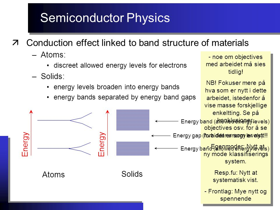 Semiconductor Physics äConduction effect linked to band structure of materials –Atoms: discreet allowed energy levels for electrons - noe om objectives med arbeidet må sies tidlig.