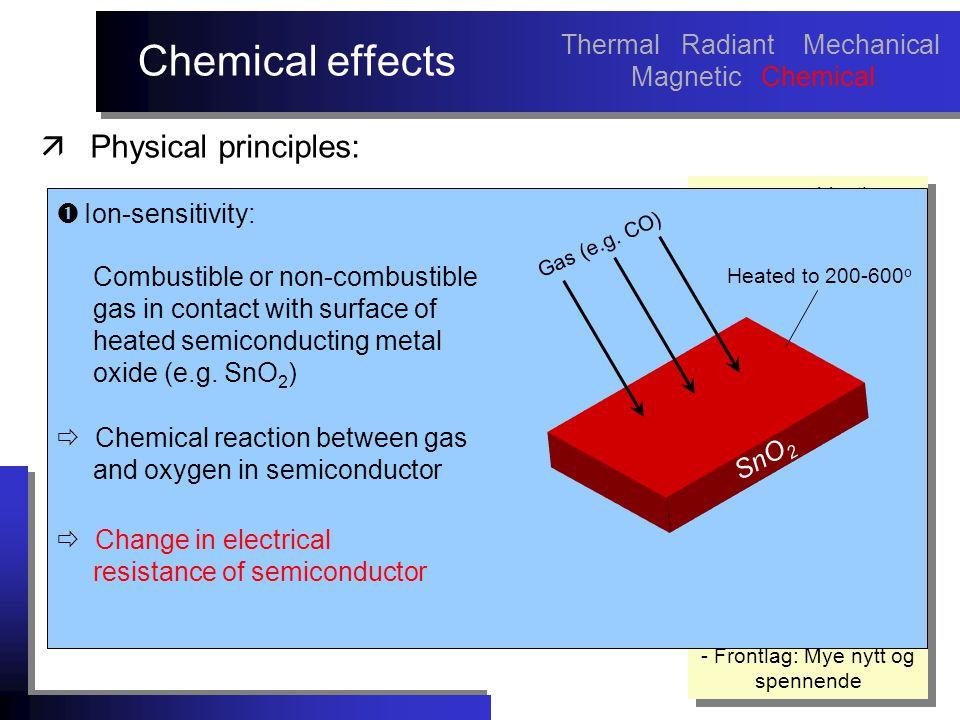 Chemical effects - noe om objectives med arbeidet må sies tidlig.