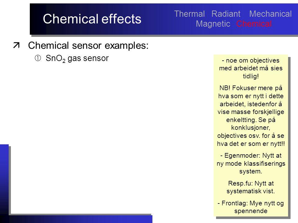 Chemical effects äChemical sensor examples:  SnO 2 gas sensor - noe om objectives med arbeidet må sies tidlig.
