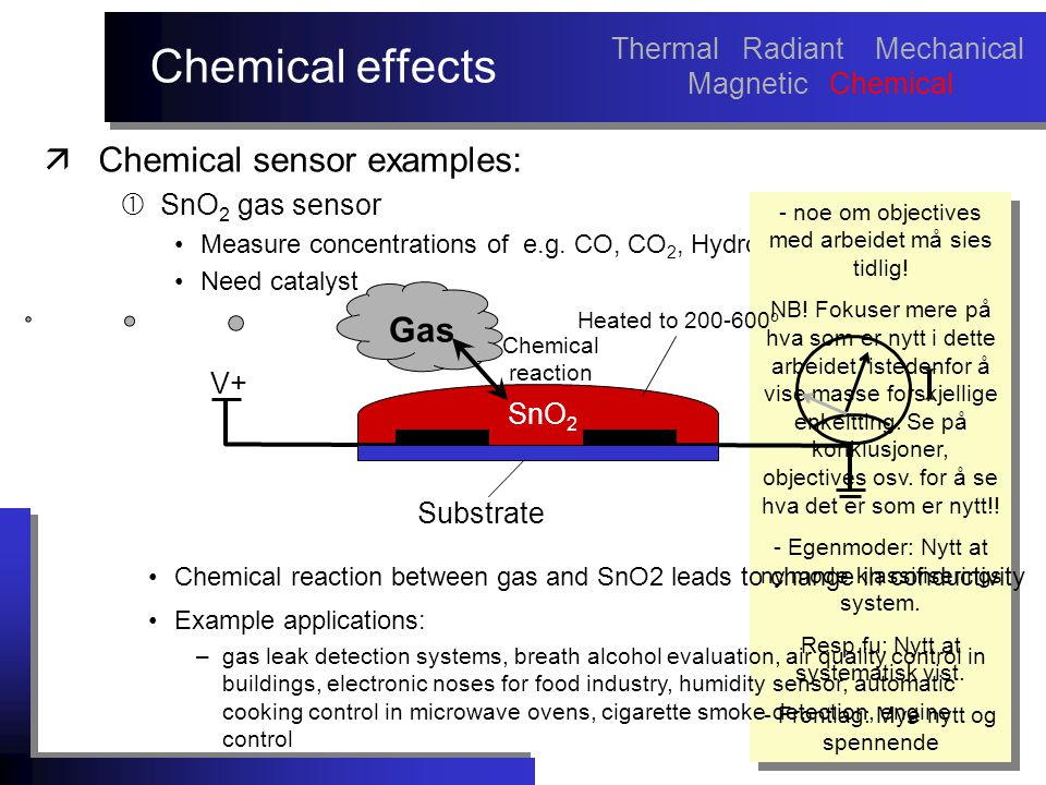 Chemical effects äChemical sensor examples:  SnO 2 gas sensor Measure concentrations of e.g.