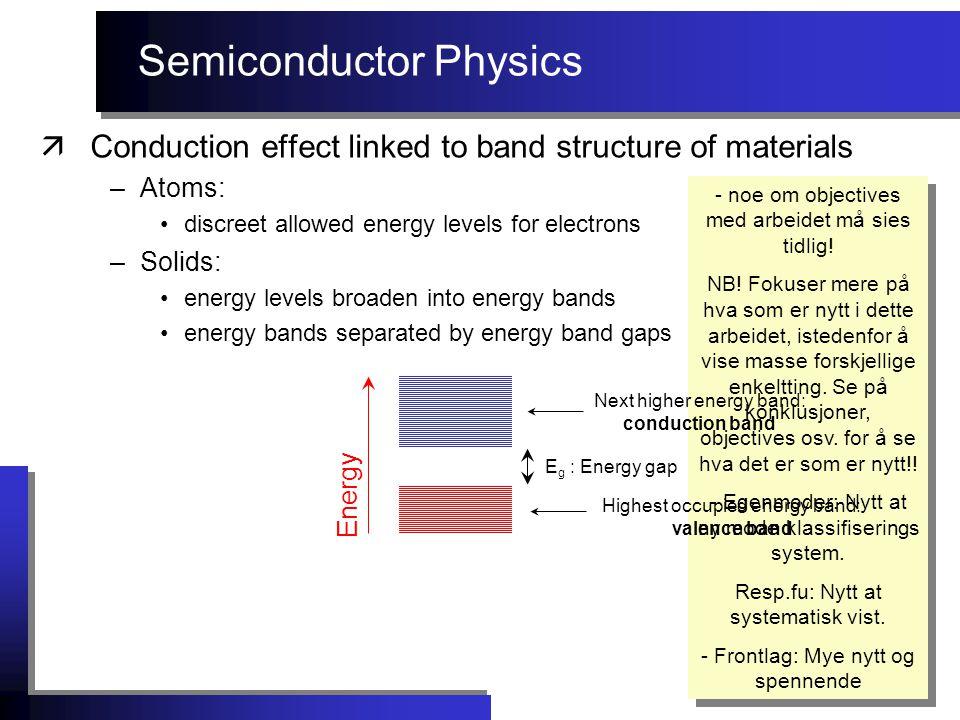 Semiconductor Physics - noe om objectives med arbeidet må sies tidlig! NB! Fokuser mere på hva som er nytt i dette arbeidet, istedenfor å vise masse f