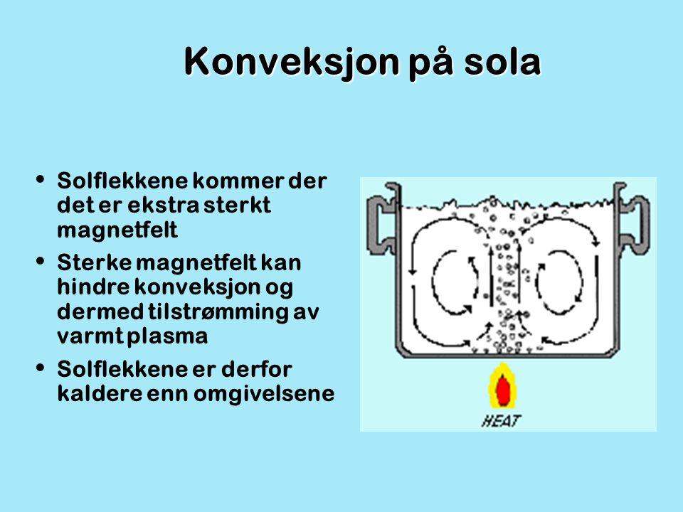 Konveksjon på sola Solflekkene kommer der det er ekstra sterkt magnetfelt Sterke magnetfelt kan hindre konveksjon og dermed tilstrømming av varmt plas