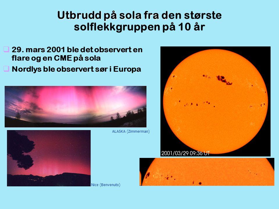ALASKA (Zimmerman) Nice (Benvenuto)  29. mars 2001 ble det observert en flare og en CME på sola  Nordlys ble observert sør i Europa Utbrudd på sola