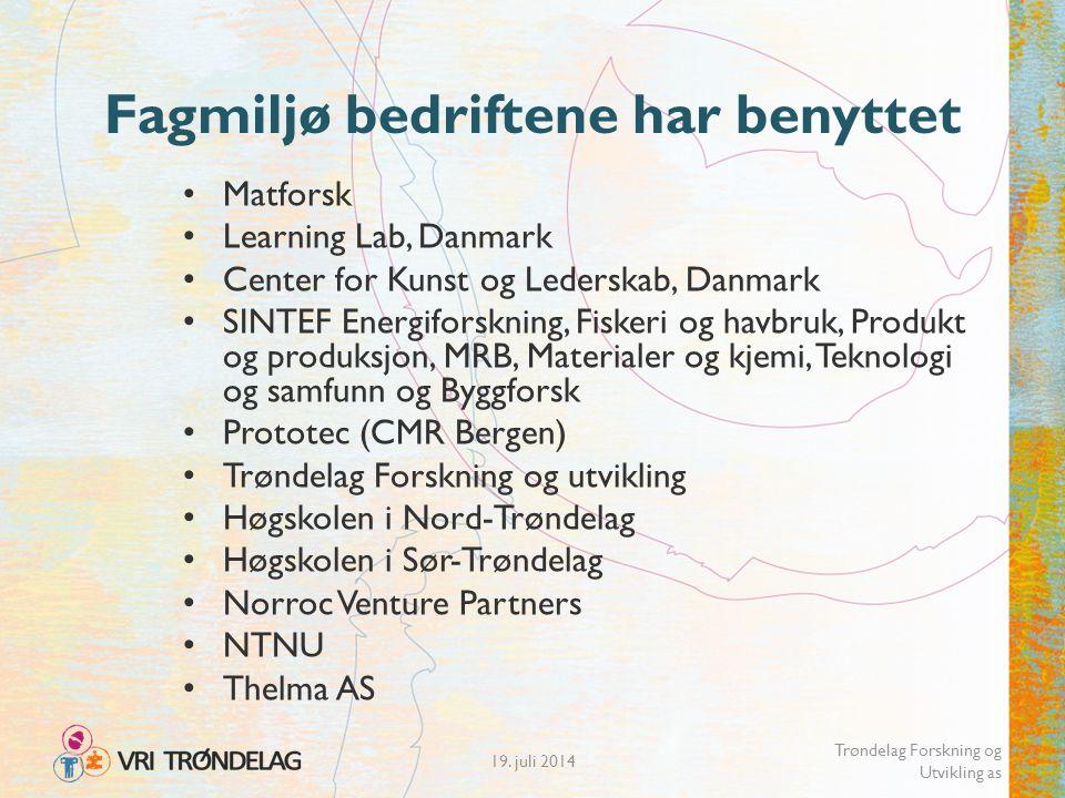 19. juli 2014 Trøndelag Forskning og Utvikling as Fagmiljø bedriftene har benyttet Matforsk Learning Lab, Danmark Center for Kunst og Lederskab, Danma
