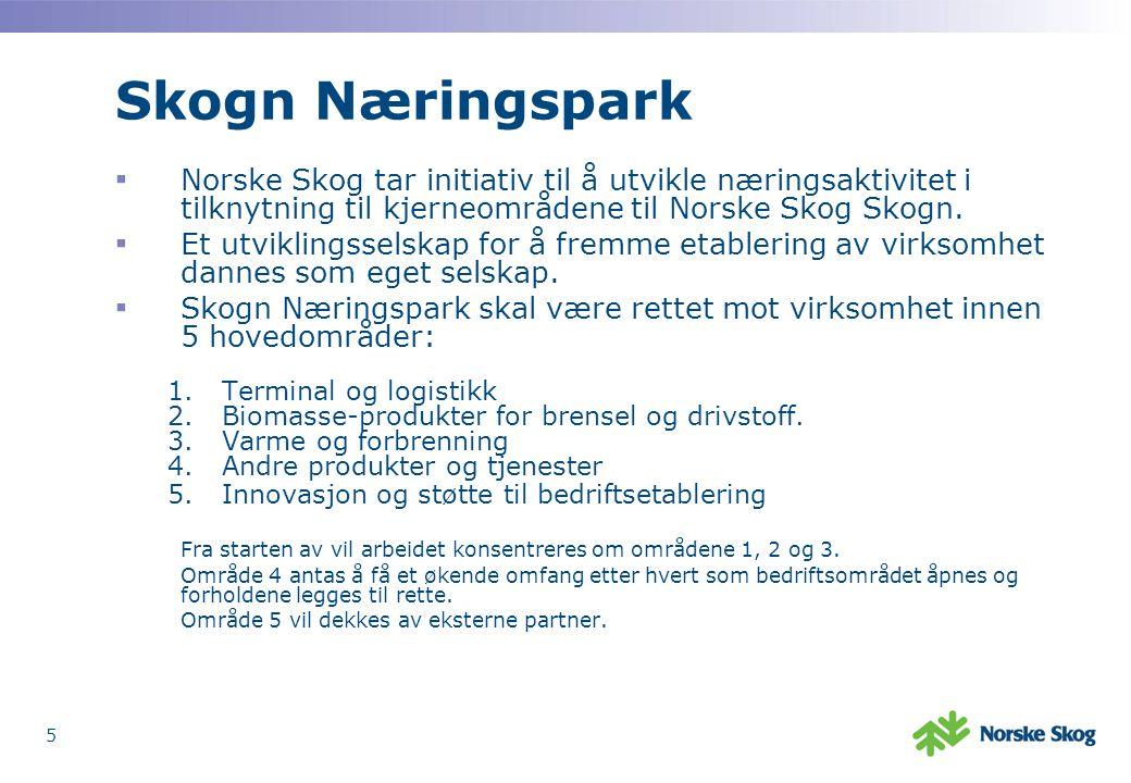 5 Skogn Næringspark ▪ Norske Skog tar initiativ til å utvikle næringsaktivitet i tilknytning til kjerneområdene til Norske Skog Skogn.