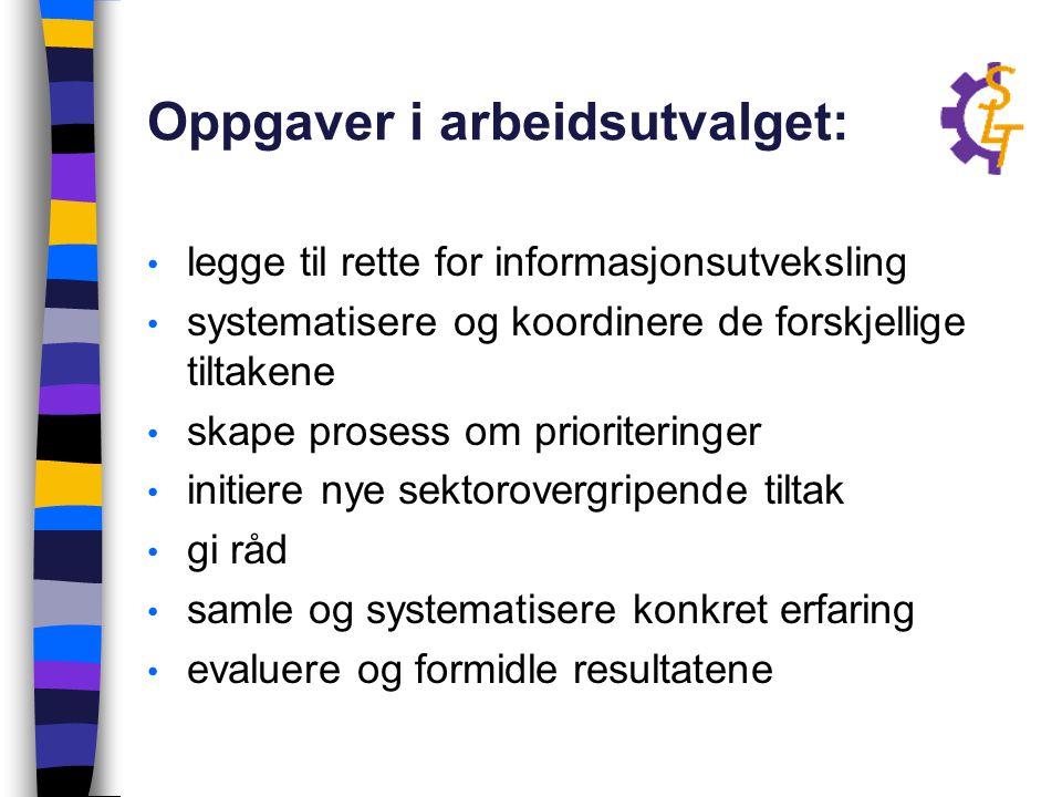Oppgaver i arbeidsutvalget: legge til rette for informasjonsutveksling systematisere og koordinere de forskjellige tiltakene skape prosess om priorite