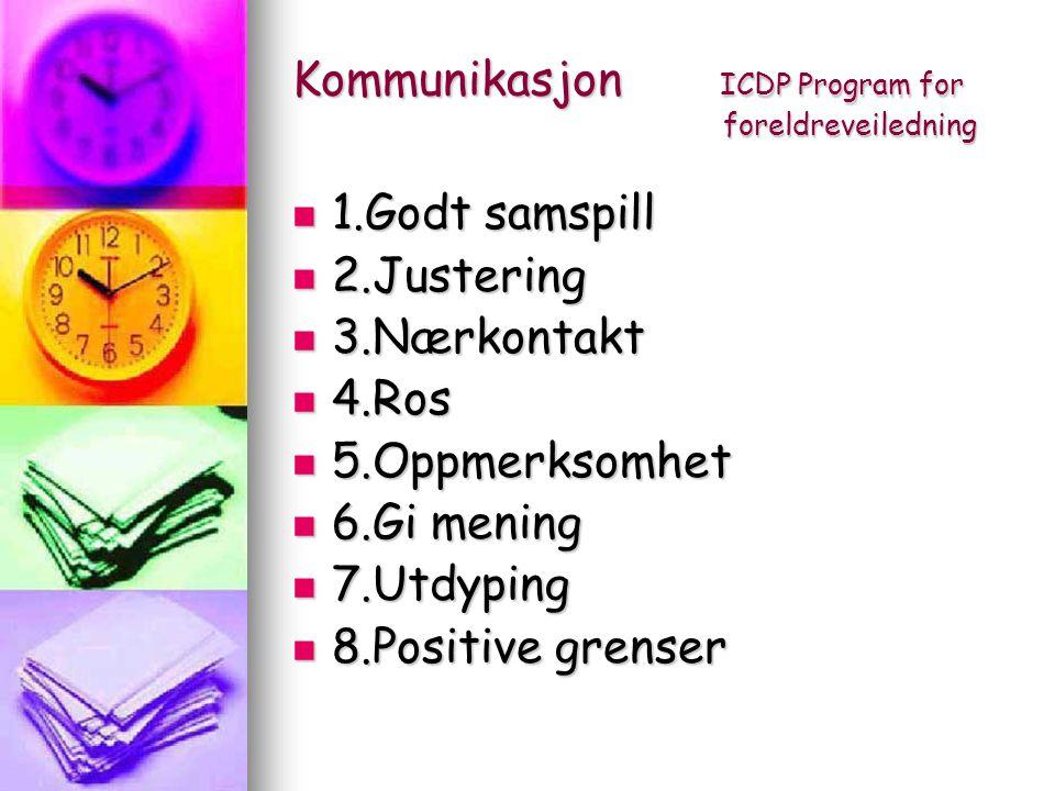 Kommunikasjon ICDP Program for foreldreveiledning 1.Godt samspill 1.Godt samspill 2.Justering 2.Justering 3.Nærkontakt 3.Nærkontakt 4.Ros 4.Ros 5.Oppm