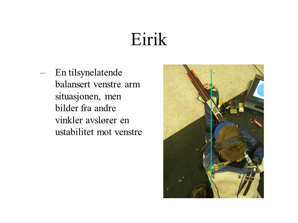 Eirik –En tilsynelatende balansert venstre arm situasjonen, men bilder fra andre vinkler avslører en ustabilitet mot venstre