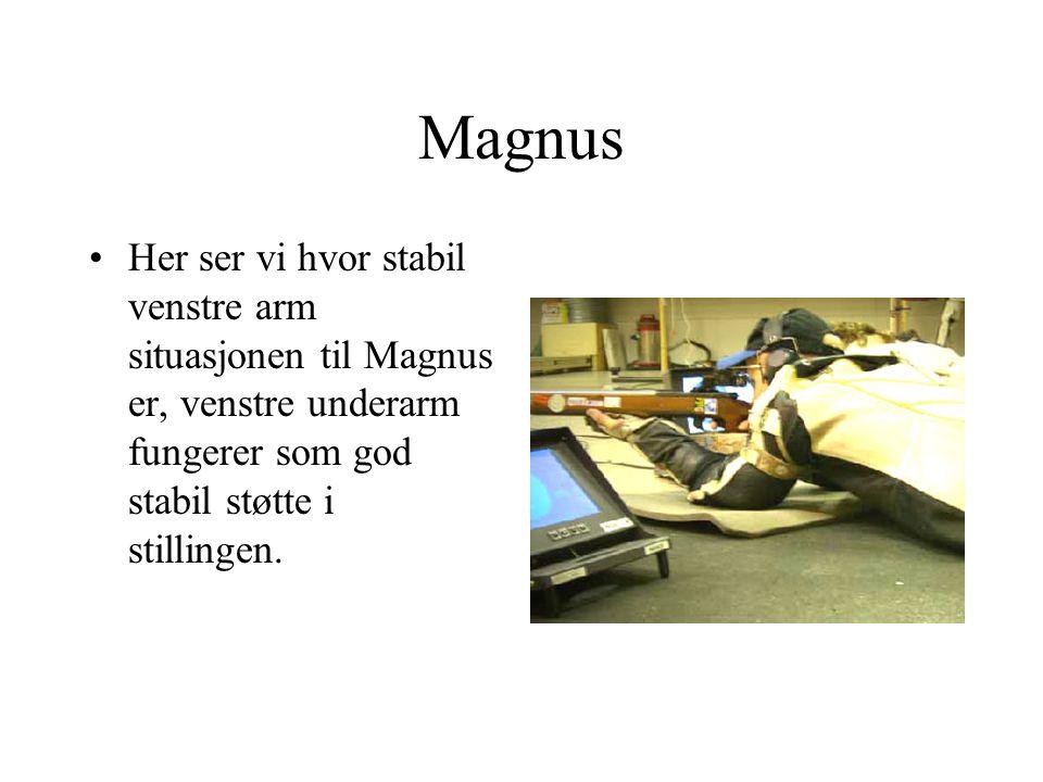 Magnus Her ser vi hvor stabil venstre arm situasjonen til Magnus er, venstre underarm fungerer som god stabil støtte i stillingen.