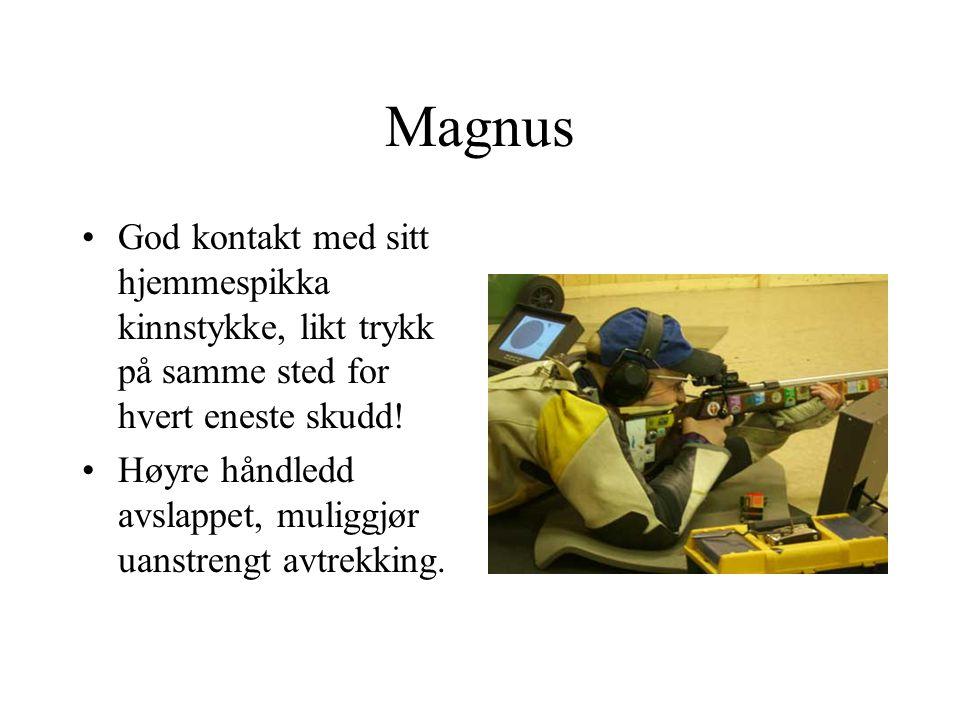 Magnus God kontakt med sitt hjemmespikka kinnstykke, likt trykk på samme sted for hvert eneste skudd.