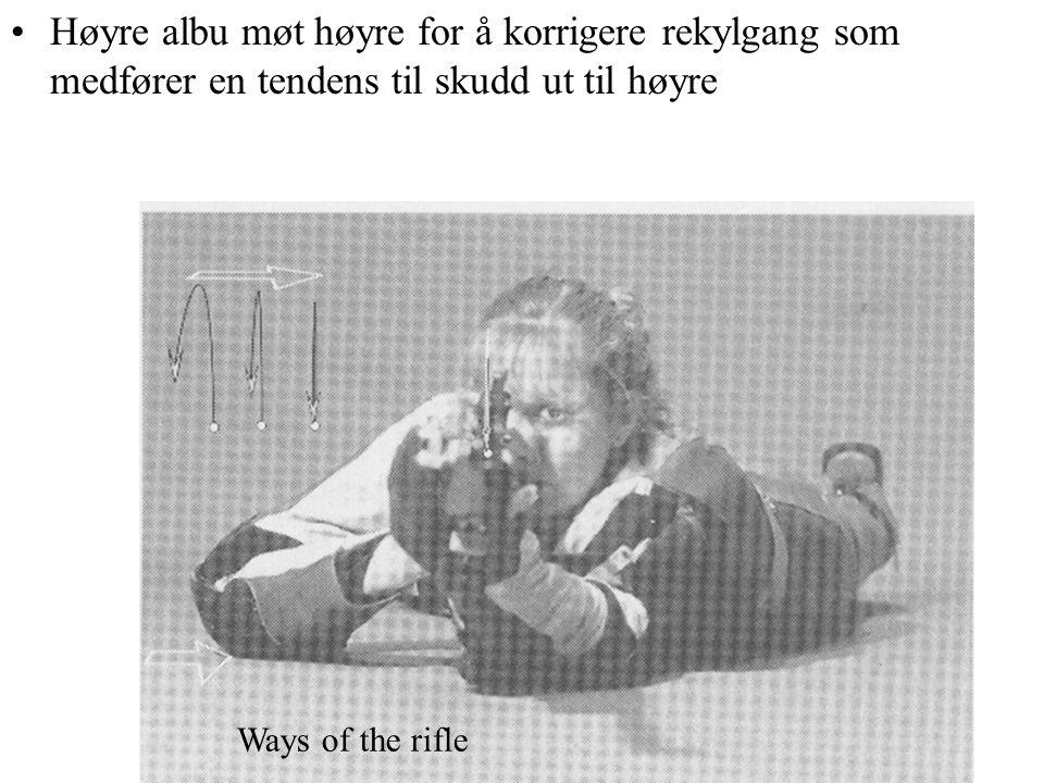 Høyre albu møt høyre for å korrigere rekylgang som medfører en tendens til skudd ut til høyre Ways of the rifle