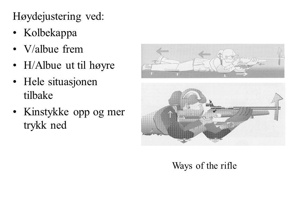 Høydejustering ved: Kolbekappa V/albue frem H/Albue ut til høyre Hele situasjonen tilbake Kinstykke opp og mer trykk ned Ways of the rifle
