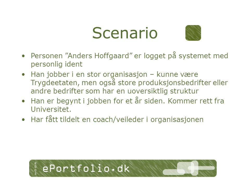Personen Anders Hoffgaard er logget på systemet med personlig ident Han jobber i en stor organisasjon – kunne være Trygdeetaten, men også store produksjonsbedrifter eller andre bedrifter som har en uoversiktlig struktur Han er begynt i jobben for et år siden.
