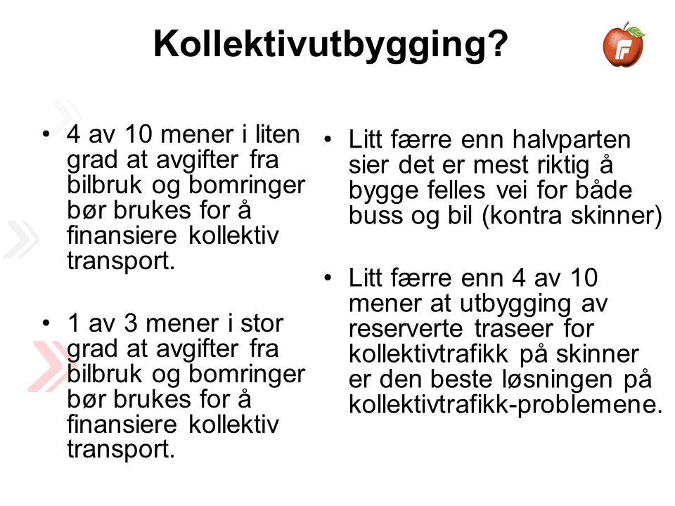 4 av 10 mener i liten grad at avgifter fra bilbruk og bomringer bør brukes for å finansiere kollektiv transport.