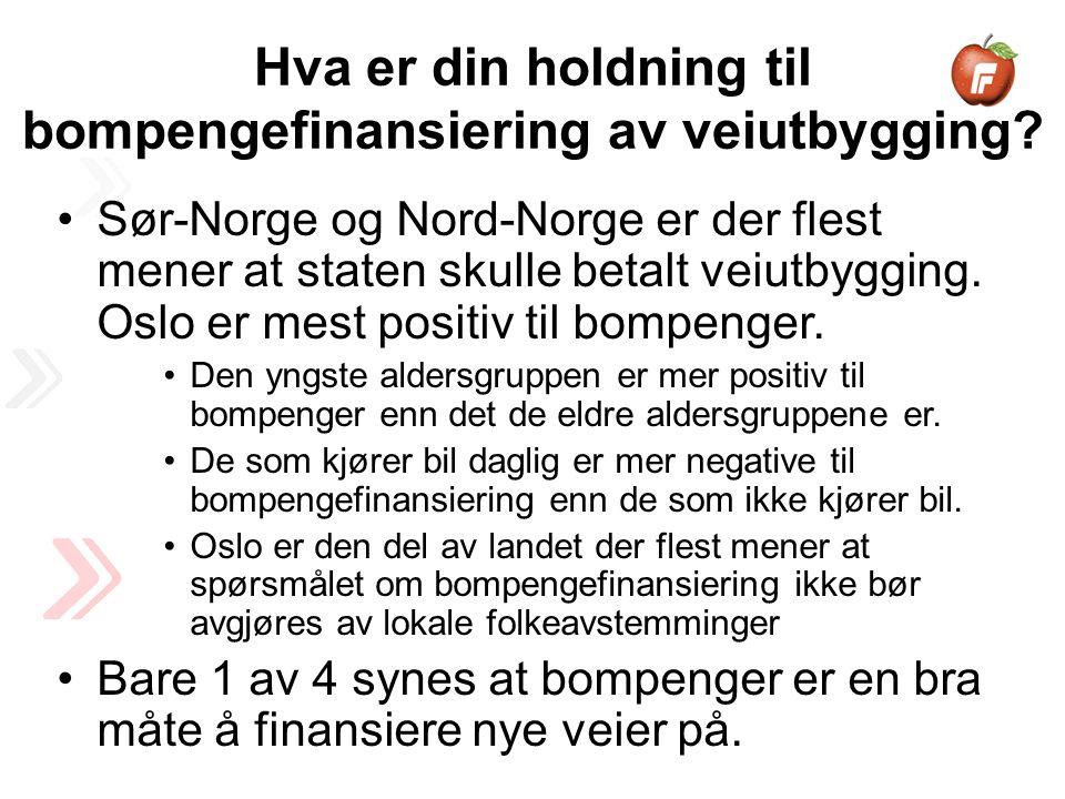 Sør-Norge og Nord-Norge er der flest mener at staten skulle betalt veiutbygging.