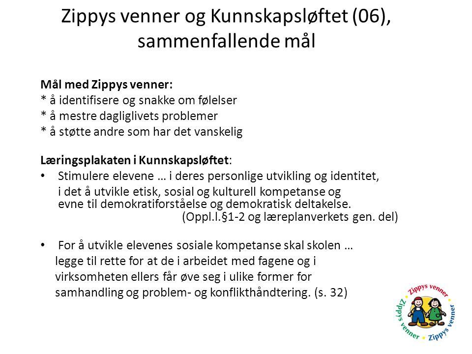 Zippys venner og Kunnskapsløftet (06), sammenfallende mål Mål med Zippys venner: * å identifisere og snakke om følelser * å mestre dagliglivets proble