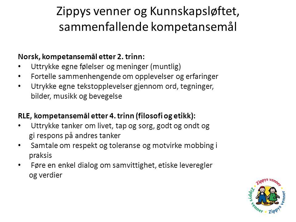 Zippys venner og Kunnskapsløftet, sammenfallende kompetansemål Norsk, kompetansemål etter 2. trinn: Uttrykke egne følelser og meninger (muntlig) Forte
