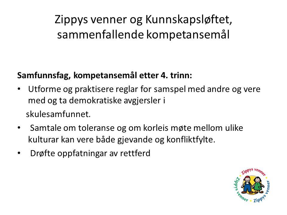 Zippys venner og Kunnskapsløftet, sammenfallende kompetansemål Samfunnsfag, kompetansemål etter 4. trinn: Utforme og praktisere reglar for samspel med