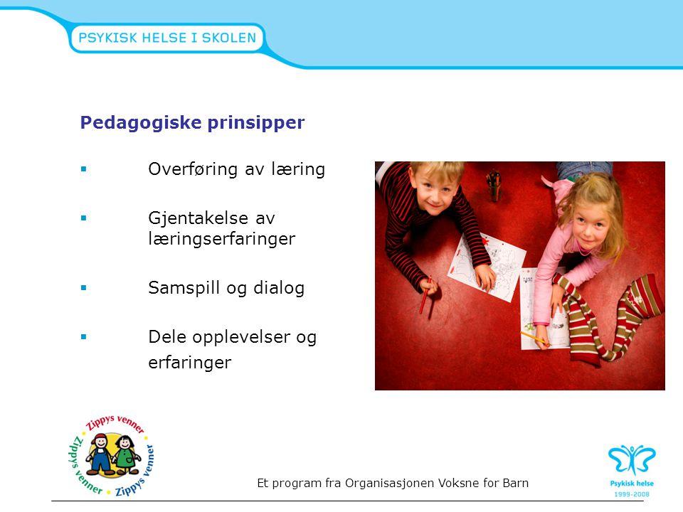Pedagogiske prinsipper  Overføring av læring  Gjentakelse av læringserfaringer  Samspill og dialog  Dele opplevelser og erfaringer Et program fra
