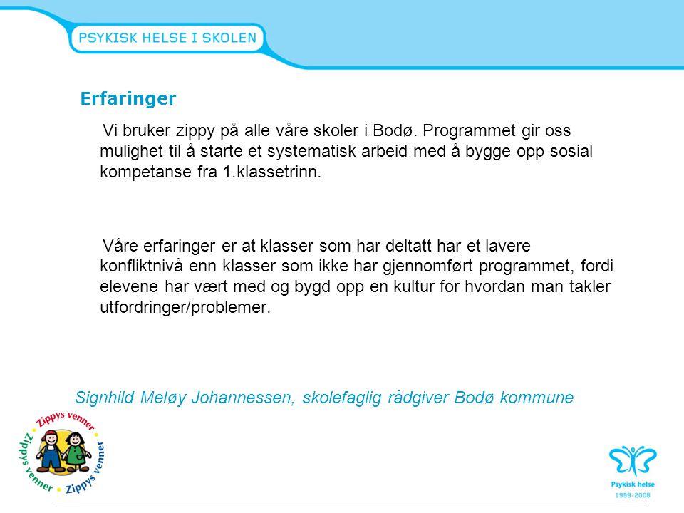Erfaringer Vi bruker zippy på alle våre skoler i Bodø. Programmet gir oss mulighet til å starte et systematisk arbeid med å bygge opp sosial kompetans