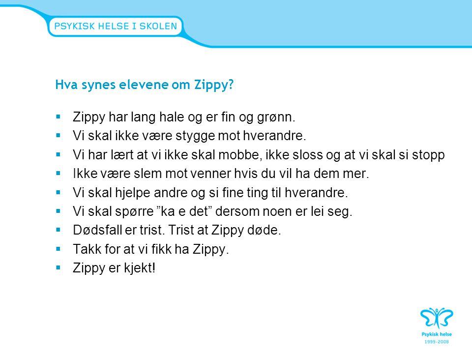 Hva synes elevene om Zippy?  Zippy har lang hale og er fin og grønn.  Vi skal ikke være stygge mot hverandre.  Vi har lært at vi ikke skal mobbe, i